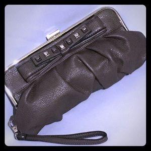 Jessica Simpson gray/bronze clutch w/stud detail